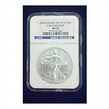 2008-W (Burnished) Silver American Eagle MS-70 NGC (Rev '07) - L22657