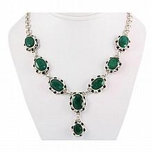 258ctw Flower Silver Necklace w/ Emerald - L10763