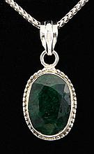 EMERALD BERYL 24.58CTW STERLING SILVER PENDANT - L19793
