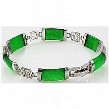 10.27g Apple Green Jade Sterling Silver Bracelet - L17845