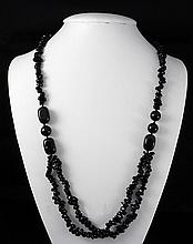 Chunky 433.46ctw Black Onyx Beads Necklace - L18986