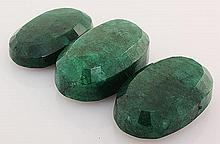 163.51ctw Faceted Loose Emerald Beryl Gemstone Lot of 3 - L20439