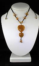 Natural 109.79ctw Heart Dangling Jade Necklace - L18955
