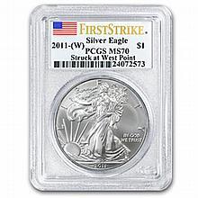 2011 (W) 1 oz Silver American Eagle MS-70 PCGS West Point (FS) - L22648