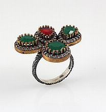 Natural Stone Cocktail Victorian Design Ring - L23145