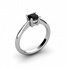 Black Diamond 0.50ctw Ring 14kt White Gold - L10968