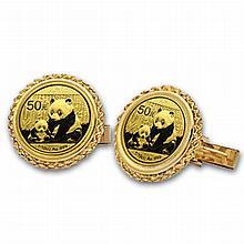 2012 1/20 oz Gold Panda Cuff Links (Polished Rope) 14KT - L19882