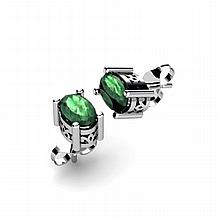 Emerald 1.04ctw Earring 14kt White Gold - L11084