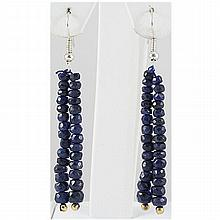 31.57ct 2 Row Faceted Sapphire Silver Hook Earring - L15710
