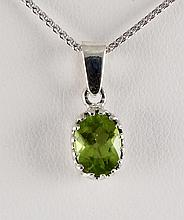 Sterling Silver Prong Set Pendant with Peridot - L23973