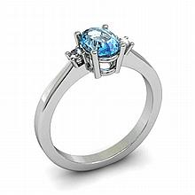 Aqua Marine 0.75ctw Ring 14kt White Gold - L11034