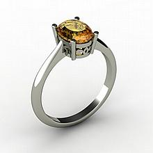 Citrine 1.25 ctw Ring 14kt White Gold - L15250