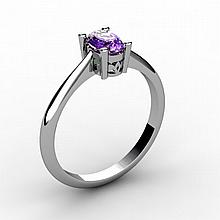 Amethyst 0.45 ctw Ring 14kt White Gold - L15224