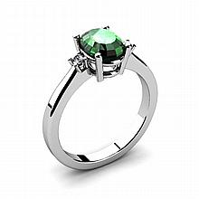 Emerald 1.26ctw Ring 14kt White Gold - L11048