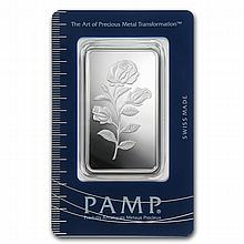 1 oz Pamp Suisse Silver Bar - Rosa (In Assay) - L24731