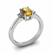 Citrine 0.85ctw Ring 14kt White Gold - L11035