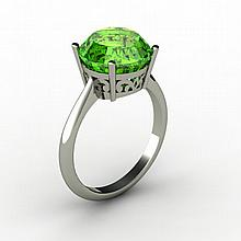 Peridot 5.25 ctw Ring 14kt White Gold - L15217