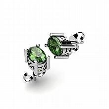 Tourmaline 1.00ctw Earring 14kt White Gold - L11092