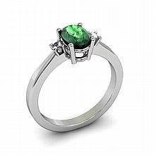 Emerald 0.85ctw Ring 14kt White Gold - L11036
