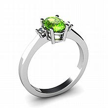 Peridot 0.95ctw Ring 14kt White Gold - L11039