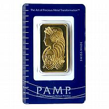 Gold Bars: Pamp Suisse One Ounce Gold Bar - L21630