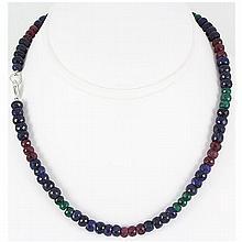 217.72ctw Natural Multi-Color Rondelles Necklace - L15541