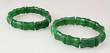 Natural Green Jade 232.91ctw Stretch Bracelet Lot of 2 - L22015
