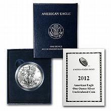 2012-W (Burnished) Silver American Eagle (w/Box & CoA) - L22679