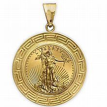 2012 1/4 oz Gold Eagle Pendant (Greek Key-Prong Bezel) 14kt - L19910
