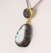Raw Druzy Natural Stone Druse Victorian Look Pendant - L23018