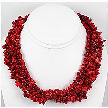 696.50ctw Red Coral Bead Twisted Necklace - L15518