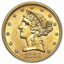 $5 Liberty Gold Half Eagle - Almost Uncirculated - L29909