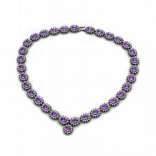Amethyst 41.25ctw Necklace 14kt White Gold - L10891
