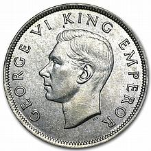 New Zealand Silver 1/2 Crown AU George VI - L31022