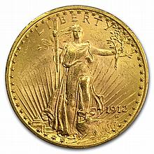 1912 $20 St. Gaudens Gold Double Eagle - MS-63 PCGS - L31477