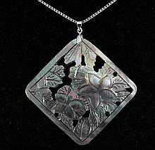 Semi Big 52.36ctw Mother Of Pearl Silver Pendant - L18951