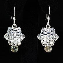Green Tourmaline 18.02ctw Star Design .925 Hook Earring - L20249