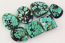 Natural Turquoise 166.22ctw Loose Small Gemstone Lot of 7 - L21304