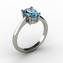 Aqua Marine 1.10 ctw Ring 14kt White Gold - L15249