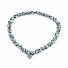 Aqua Marine 36.30ctw Necklace 14kt White Gold - L10892