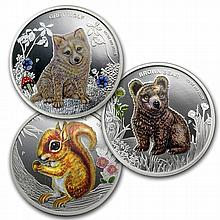 2013 1/2 oz Proof Silver Forest Babies - 3 coin set - L27745