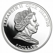 Cook Islands 2009 Silver $5 HMB Endeavour of James Cook - L27357