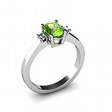 Peridot 0.50ctw Ring 14kt White Gold - L11027