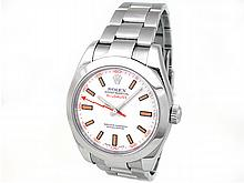 40mm Rolex Stainless Steel Oyster Perpetual Milgauss Watch. White Dial. Stainless Steel Smooth Bezel. Stainless Steel Oyster Band. Style 116400. - L29680