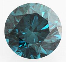 0.75 carat Natural Blue Diamond Loose SI1 Round Brilliant Color Enhanced - L22410