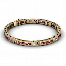 Garnet 2.96 ctw & Diamond Bracelet14kt W OR Y Gold - L11880