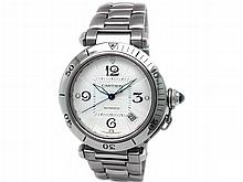 38mm Gents Cartier Stainless Steel Pasha Watch. Silver Dial. Stainless Steel Bezel. Stainless Steel Band. - L29713