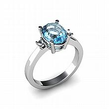 Aqua Marine 1.75ctw Ring 14kt White Gold - L11058