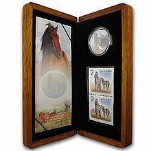 2006 1 oz Silver Canadian Sable Horse & Foal Coin and Stamp Set - L25783