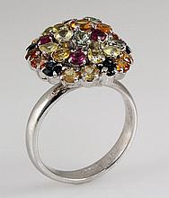 5.59ctw MultiColored Rhinestone Cluster Silver Ring 4.76g - L20319